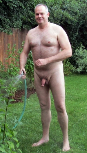 Naked at home, watering nude