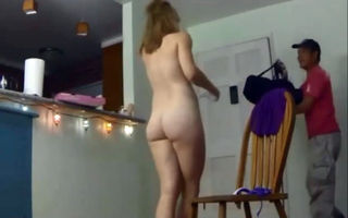 Naked housewife let postman to..