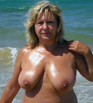Mature shy nudists on the beach