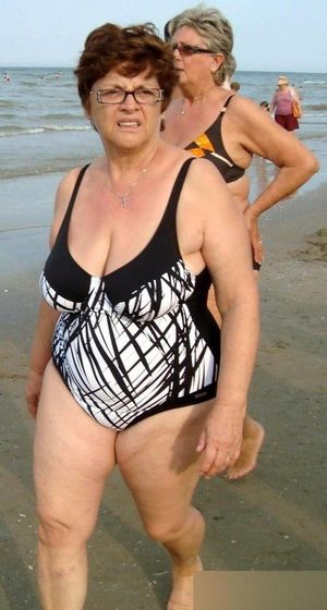 Big old whores on the beach side