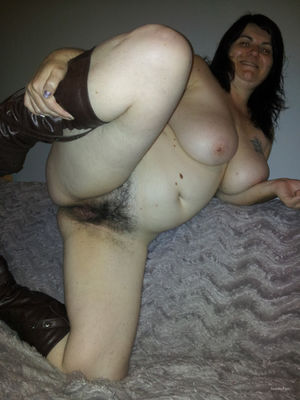 Chubby hairy big tit wife spreading..