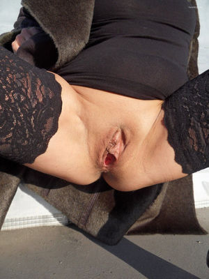 Exhib parking exhibitionism outdoors..