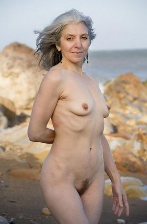 Elegant grandmother naked without..