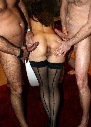 blindfolded lady makes double bj at..