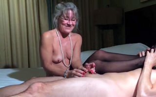 Small tits old granny jerking dick