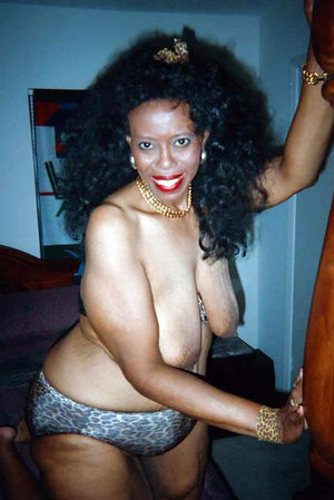 Old black cuties flashes her huge..
